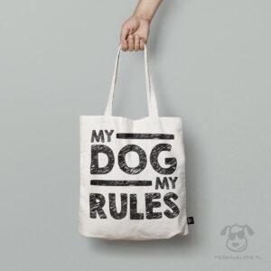 """Torba """"My dog, my rules"""" idealna dla właściciela psa na zakupy, na spacer czy na wycieczkę. Na prezent dla miłośnika zwierząt czy jako gadżet dla wielbiciela psów."""