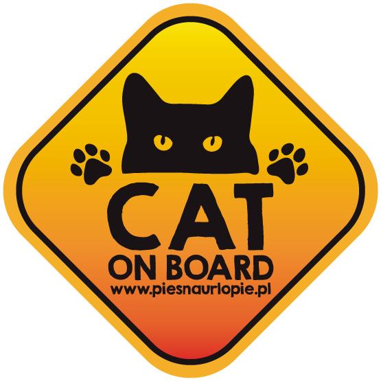 Naklejka na samochód z kotem (cat on board).
