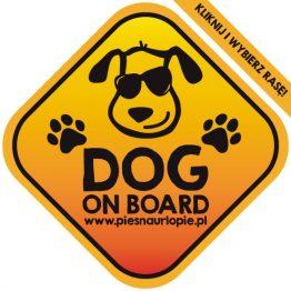 Naklejka na samochód z psem rasowym (dog on board) idealna dla właściciela, który lubi podróżować z psem i dba o jego bezpieczeństwo. Na prezent dla miłośnika zwierząt czy jako gadżet dla wielbiciela psów.