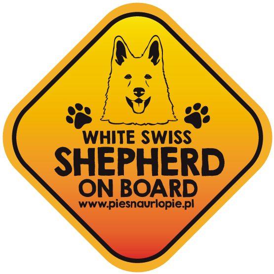Naklejka na samochód z psem rasowym (biały owczarek szwajcarski) idealna dla właściciela, który lubi podróżować z psem i dba o jego bezpieczeństwo. Na prezent dla miłośnika zwierząt czy jako gadżet dla wielbiciela psów.