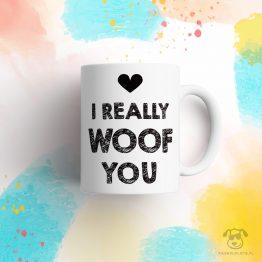 """Kubek """"I really woof You"""" idealny dla właściciela psa do pracy, do domu i w podróż. Na prezent dla miłośnika zwierząt czy jako gadżet dla wielbiciela psów."""