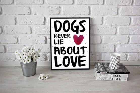 """Plakat """"Dogs never lie about love"""" idealny dla kochających właścicieli psów. Na prezent dla miłośnika zwierząt czy jako gadżet dla wielbiciela psów."""
