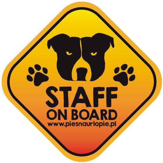 Naklejka na samochód z psem rasowym (staffik) idealna dla właściciela, który lubi podróżować z psem i dba o jego bezpieczeństwo. Na prezent dla miłośnika zwierząt czy jako gadżet dla wielbiciela psów.