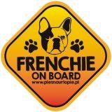 Naklejka na samochód z psem rasowym (buldog francuski) idealna dla właściciela, który lubi podróżować z psem i dba o jego bezpieczeństwo. Na prezent dla miłośnika zwierząt czy jako gadżet dla wielbiciela psów.