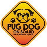 Naklejka na samochód z psem rasowym (mops) idealna dla właściciela, który lubi podróżować z psem i dba o jego bezpieczeństwo. Na prezent dla miłośnika zwierząt czy jako gadżet dla wielbiciela psów.