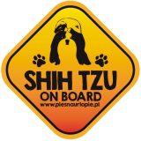 Naklejka na samochód z psem rasowym (shih tzu) idealna dla właściciela, który lubi podróżować z psem i dba o jego bezpieczeństwo. Na prezent dla miłośnika zwierząt czy jako gadżet dla wielbiciela psów.