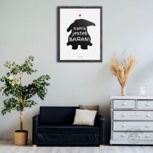 """Plakat """"Sama jesteś baran"""" idealny dla właściciela królika rasy baran. Na prezent dla miłośnika zwierząt czy jako gadżet dla wielbiciela królików."""