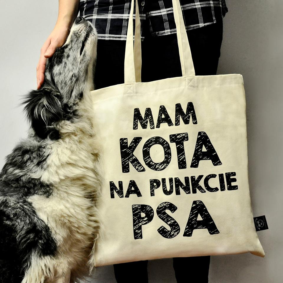 """Torba """"Mam kota na punkcie psa"""" idealna dla właściciela psa na zakupy, na spacer czy na wycieczkę. Na prezent dla miłośnika zwierząt czy jako gadżet dla wielbiciela psów."""
