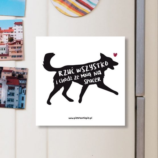 """Magnes """"Rzuć wszystko i chodź ze mną na spacer"""" idealny dla właściciela psa na lodówkę, okap, a nawet metalowe drzwi. Na prezent dla miłośnika zwierząt czy jako gadżet dla wielbiciela psów."""