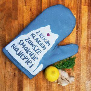 Rękawica kuchenna z kocim kłakiem idealny dla miłośników kotów i gotowania. Na prezent dla właściciela kota czy jako gadżet dla wielbiciela kotów.