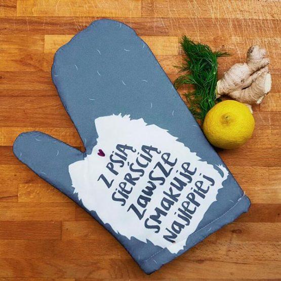 Rękawica kuchenna z psią sierścią idealna dla miłośników psów i gotowania. Na prezent dla właściciela psa czy jako gadżet dla wielbiciela psów.