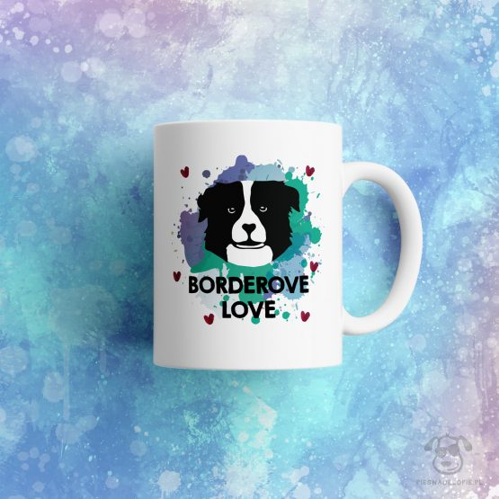 """Kubek """"borderove love"""" idealny dla właściciela psa rasowego (border collie) do pracy, do domu i w podróż. Na prezent dla miłośnika zwierząt czy jako gadżet dla wielbiciela psów."""