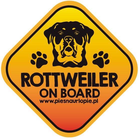Naklejka na samochód z psem rasowym (rottweiler) idealna dla właściciela, który lubi podróżować z psem i dba o jego bezpieczeństwo. Na prezent dla miłośnika zwierząt czy jako gadżet dla wielbiciela psów.