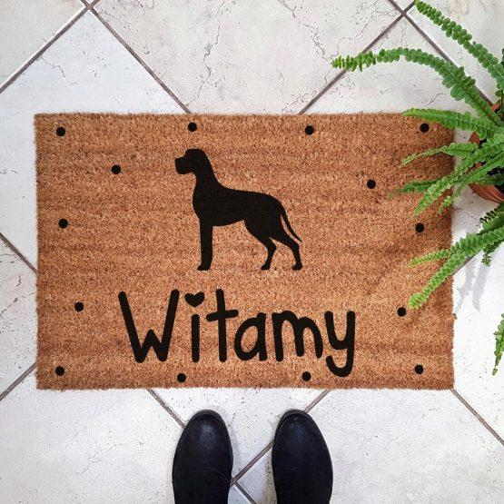 Wycieraczka kokosowa z psem rasowym dog niemiecki. Prezent dla właściciela psa. Sklep z wyjątkowymi gadżetami dla miłośników zwierząt.