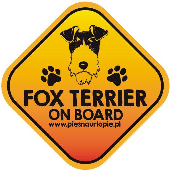 Naklejka na samochód z psem rasowym (foksterier) idealna dla właściciela, który lubi podróżować z psem i dba o jego bezpieczeństwo. Na prezent dla miłośnika zwierząt czy jako gadżet dla wielbiciela psów.