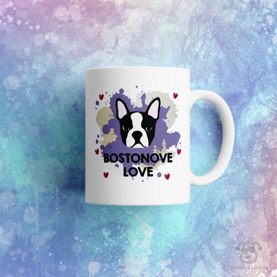 """Kubek """"Bostonove love"""" idealny dla właściciela psa rasowego (boston terrier) do pracy, do domu i w podróż. Na prezent dla miłośnika zwierząt czy jako gadżet dla wielbiciela psów."""