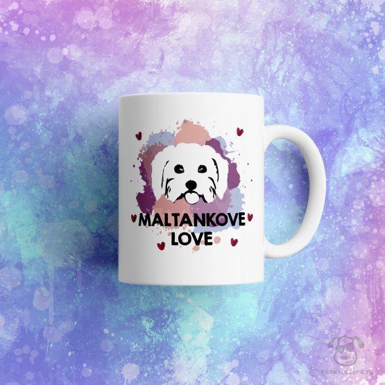 """Kubek """"Maltankove love"""" idealny dla właściciela psa rasowego (maltańczyk) do pracy, do domu i w podróż. Na prezent dla miłośnika zwierząt czy jako gadżet dla wielbiciela psów."""