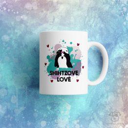 """Kubek """"Shihtzove love"""" idealny dla właściciela psa rasowego (shih tzu) do pracy, do domu i w podróż. Na prezent dla miłośnika zwierząt czy jako gadżet dla wielbiciela psów."""