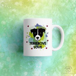 """Kubek """"Terrierove love"""" idealny dla właściciela psa rasowego (jack russel, parson russel terrier) do pracy, do domu i w podróż. Na prezent dla miłośnika zwierząt czy jako gadżet dla wielbiciela psów."""