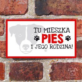 Tabliczka ostrzegawcza z psem rasowym jack russel terrier. Prezent dla właściciela psa. Sklep z wyjątkowymi gadżetami dla miłośników zwierząt.