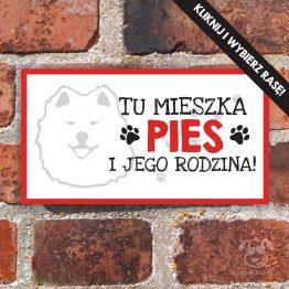 Tabliczka ostrzegawcza z psem rasowym - dostępne różne rasy do wyboru. Prezent dla właściciela psa. Sklep z wyjątkowymi gadżetami dla miłośników zwierząt.