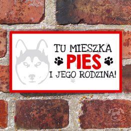 Tabliczka ostrzegawcza z psem rasowym siberian husky. Prezent dla właściciela psa. Sklep z wyjątkowymi gadżetami dla miłośników zwierząt.