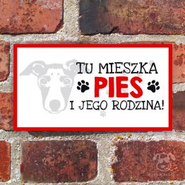 Tabliczka ostrzegawcza z psem rasowym west whippet. Prezent dla właściciela psa. Sklep z wyjątkowymi gadżetami dla miłośników zwierząt.