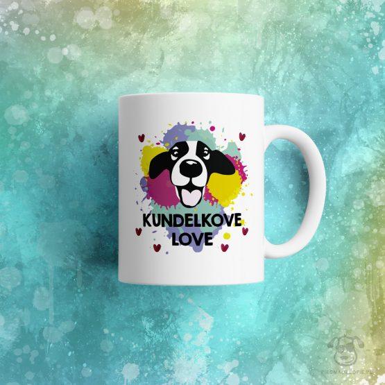 """Kubek """"Kundelkove love"""" idealny dla właściciela kundelka do pracy, do domu i w podróż. Na prezent dla miłośnika zwierząt czy jako gadżet dla wielbiciela psów."""