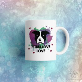 """Kubek """"Pitbullove love"""" idealny dla właściciela psa rasowego (pitbull) do pracy, do domu i w podróż. Na prezent dla miłośnika zwierząt czy jako gadżet dla wielbiciela psów."""