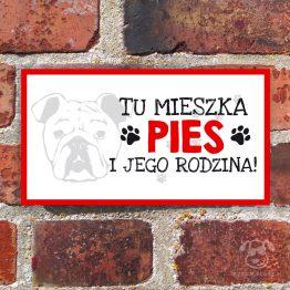 Tabliczka ostrzegawcza z psem rasowym buldog angielski. Prezent dla właściciela psa. Sklep z wyjątkowymi gadżetami dla miłośników zwierząt.