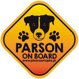 Naklejka na samochód z psem rasowym (parson russel terier) idealna dla właściciela, który lubi podróżować z psem i dba o jego bezpieczeństwo. Na prezent dla miłośnika zwierząt czy jako gadżet dla wielbiciela psów.