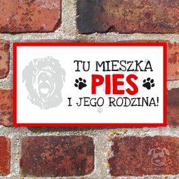 Tabliczka ostrzegawcza z psem rasowym czarny terier rosyjski. Prezent dla właściciela psa. Sklep z wyjątkowymi gadżetami dla miłośników zwierząt.
