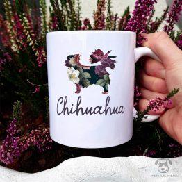 kubek z chihuahuą z kolekcji całej w kwiatach