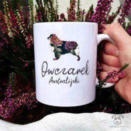 Kubek z pasem – Owczarek australijski (aussie) cały w kwiatach. Autorski projekt, delikatność wzoru, piękno kwiatów i miłość do psów w jednym :)