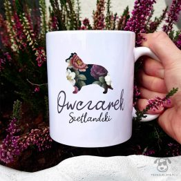 Kubek z pasem – Owczarek szetlandzki sheltie cały w kwiatach. Autorski projekt, delikatność wzoru, piękno kwiatów i miłość do psów w jednym :)