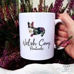 Kubek z pasem – Welsh corgi pembroke cały w kwiatach. Autorski projekt, delikatność wzoru, piękno kwiatów i miłość do psów w jednym :)