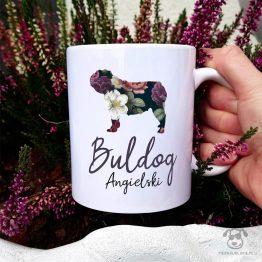 kubek z buldogiem angielskim z kolekcji całej w kwiatach