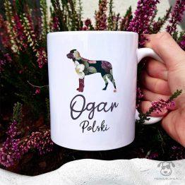Kubek z pasem – Ogar poslki cały w kwiatach. Autorski projekt, delikatność wzoru, piękno kwiatów i miłość do psów w jednym :)