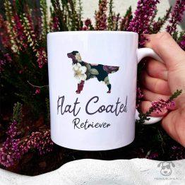 Kubek z pasem – Flat coated retriever cały w kwiatach. Autorski projekt, delikatność wzoru, piękno kwiatów i miłość do psów w jednym :)