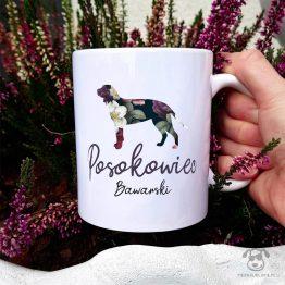 Kubek z pasem – Posokowiec bawarski cały w kwiatach. Autorski projekt, delikatność wzoru, piękno kwiatów i miłość do psów w jednym :)