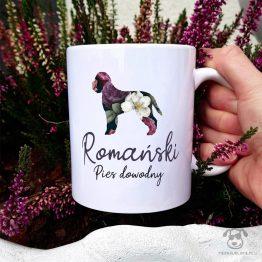 Kubek z pasem – Romański pies dowodny cały w kwiatach. Autorski projekt, delikatność wzoru, piękno kwiatów i miłość do psów w jednym :)