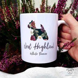 Kubek z pasem – West highland white terrier cały w kwiatach. Autorski projekt, delikatność wzoru, piękno kwiatów i miłość do psów w jednym :)