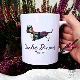 Kubek z pasem – Dandie dinmont terrier cały w kwiatach. Autorski projekt, delikatność wzoru, piękno kwiatów i miłość do psów w jednym :)