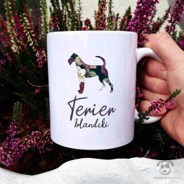 Kubek z psem – Terier irlandzki cały w kwiatach. Autorski projekt, delikatność wzoru, piękno kwiatów i miłość do psów w jednym :)