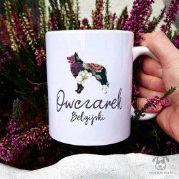 Kubek z psem – Owczarek belgijski tervuerena cały w kwiatach. Autorski projekt, delikatność wzoru, piękno kwiatów i miłość do psów w jednym :)