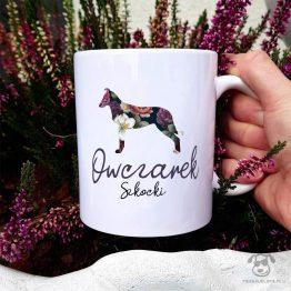 Kubek z psem – Owczarek szkocki colie krótkowłosy cały w kwiatach. Autorski projekt, delikatność wzoru, piękno kwiatów i miłość do psów w jednym :)