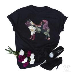 Koszulka z psem akita inu cała w kwiatach