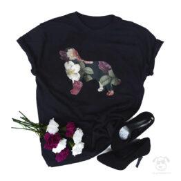 Koszulka z psem Berneński Pies Pasterski cały w kwiatach