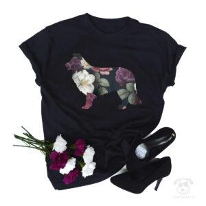 Koszulka z psem rasy border collie całym w kwiatach