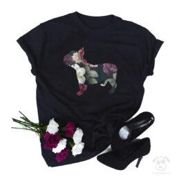 Koszulka z psem buldog francuski cały w kwiatach